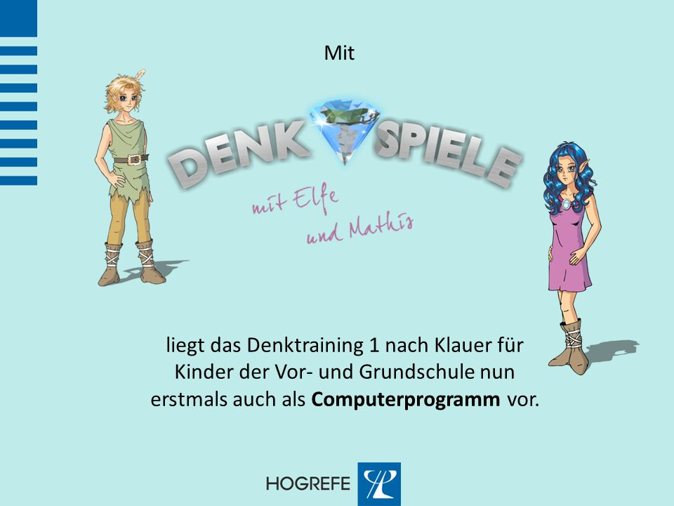 Mit liegt das Denktraining 1 nach Klauer für Kinder der Vor- und Grundschule nun erstmals auch als Computerprogramm vor.