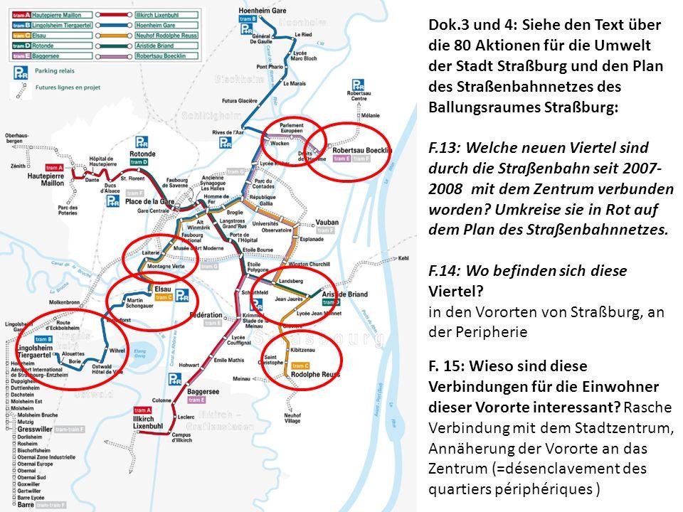 Dok.3 und 4: Siehe den Text über die 80 Aktionen für die Umwelt der Stadt Straßburg und den Plan des Straßenbahnnetzes des Ballungsraumes Straßburg: