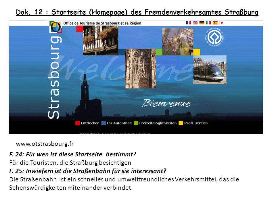 Dok. 12 : Startseite (Homepage) des Fremdenverkehrsamtes Straßburg