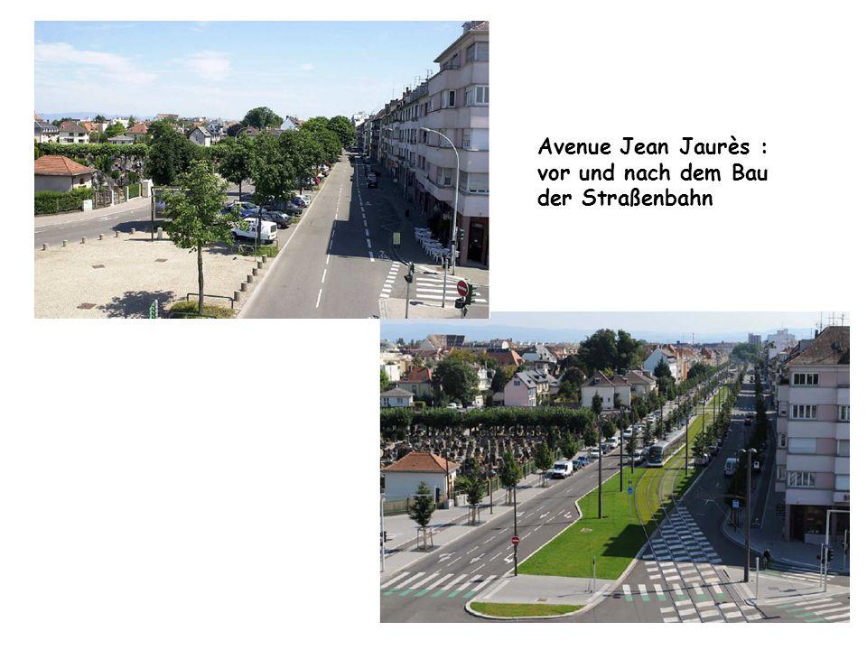 Avenue Jean Jaurès : vor und nach dem Bau der Straßenbahn