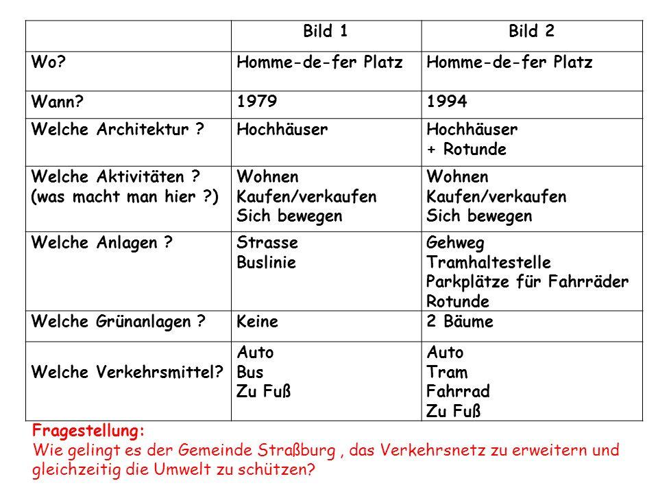 Bild 1 Bild 2. Wo Homme-de-fer Platz. Wann 1979. 1994. Welche Architektur Hochhäuser. + Rotunde.