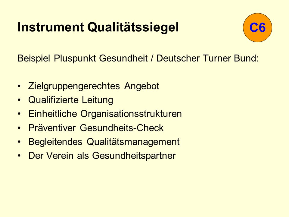 Instrument Qualitätssiegel