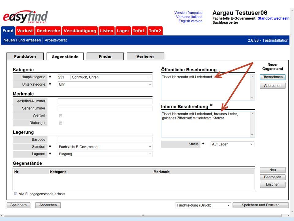 Auf der zweiten Seite wird die Gegenstandskategorie und Unterkategorie eingetragen. Auch zusätzliche Informationen wie z.B. Seriennummer können hier erfasst werden.