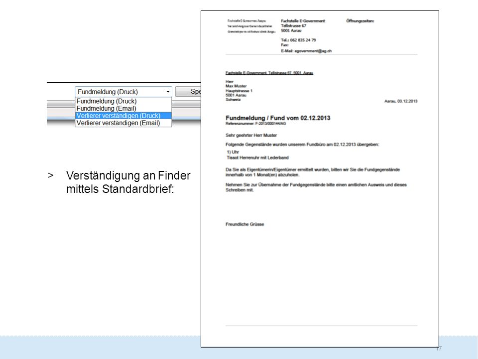Verständigung an Finder mittels Standardbrief:
