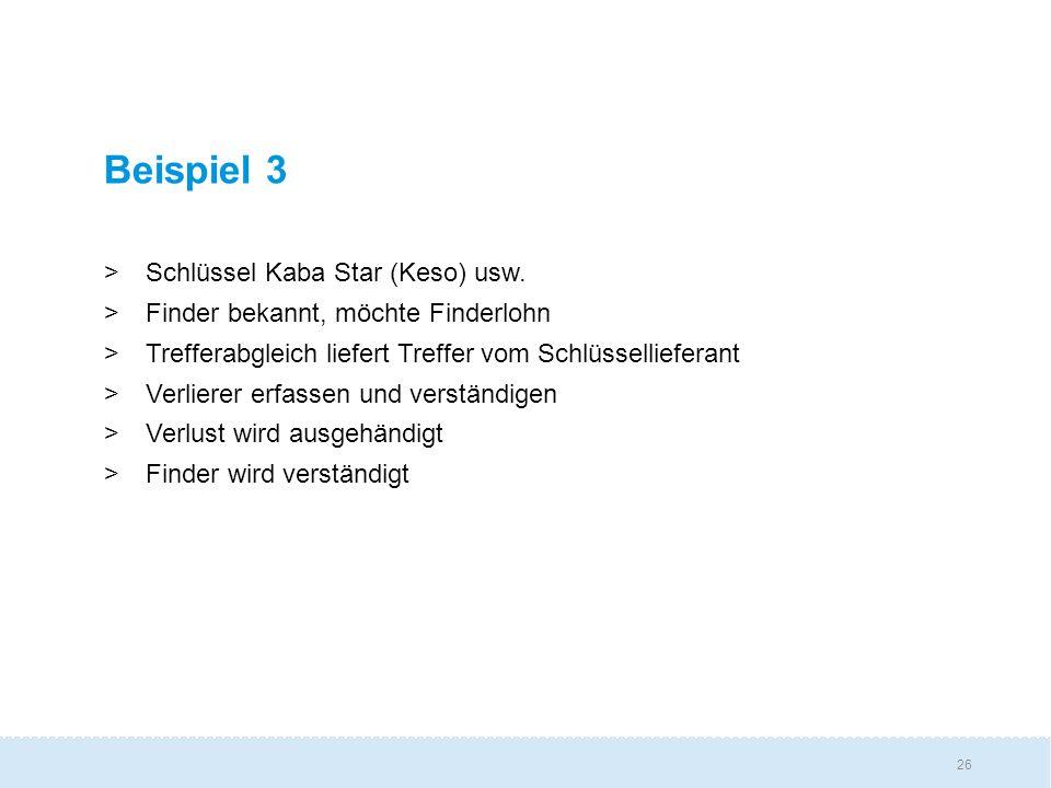 Beispiel 3 Schlüssel Kaba Star (Keso) usw.