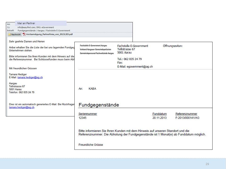Mail an Partner E-Mail und Anhang welche an die Schlüsselfirma (bzw.