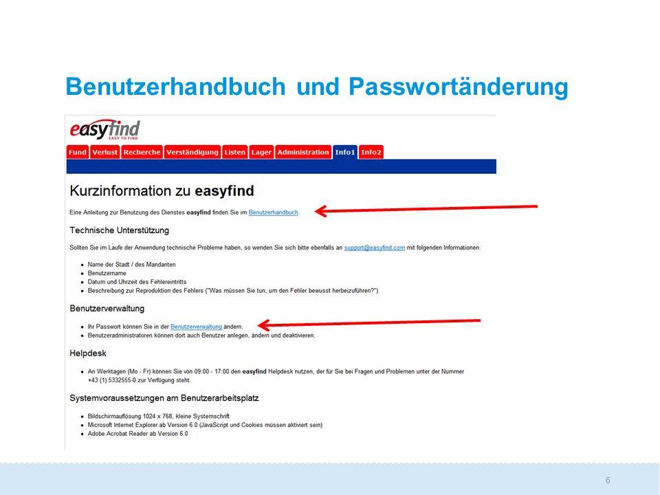 Benutzerhandbuch und Passwortänderung