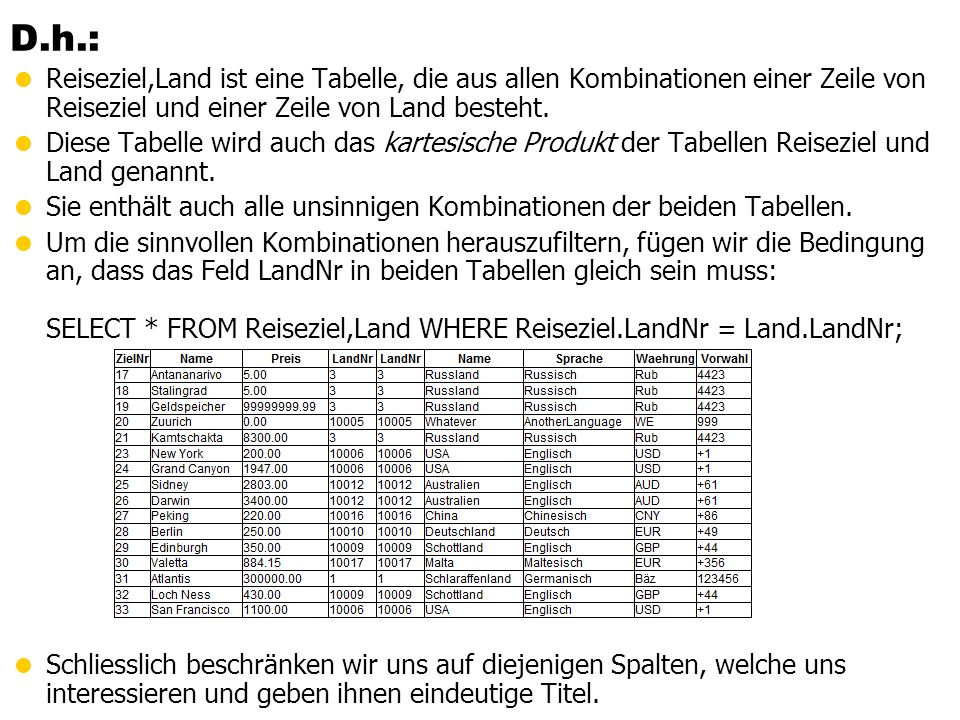 D.h.: Reiseziel,Land ist eine Tabelle, die aus allen Kombinationen einer Zeile von Reiseziel und einer Zeile von Land besteht.