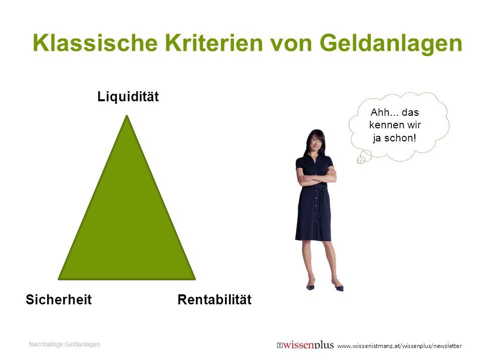 Klassische Kriterien von Geldanlagen