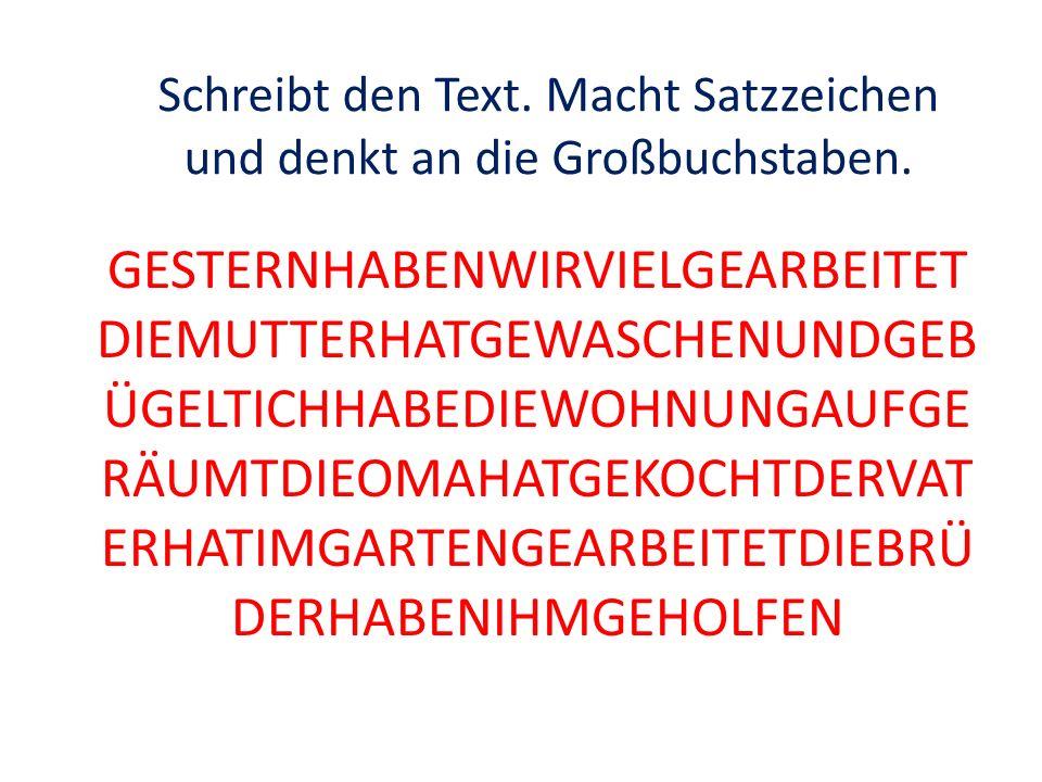 Schreibt den Text. Macht Satzzeichen und denkt an die Großbuchstaben.