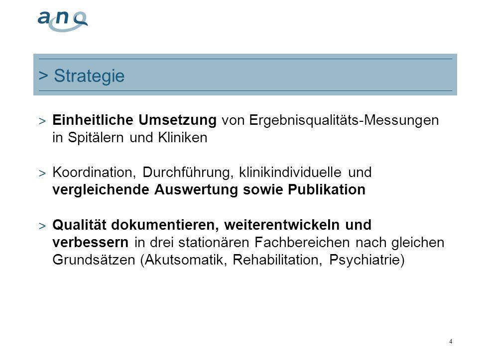 > Strategie Einheitliche Umsetzung von Ergebnisqualitäts-Messungen in Spitälern und Kliniken.