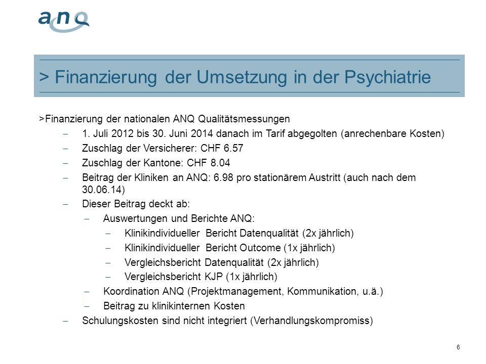 > Finanzierung der Umsetzung in der Psychiatrie