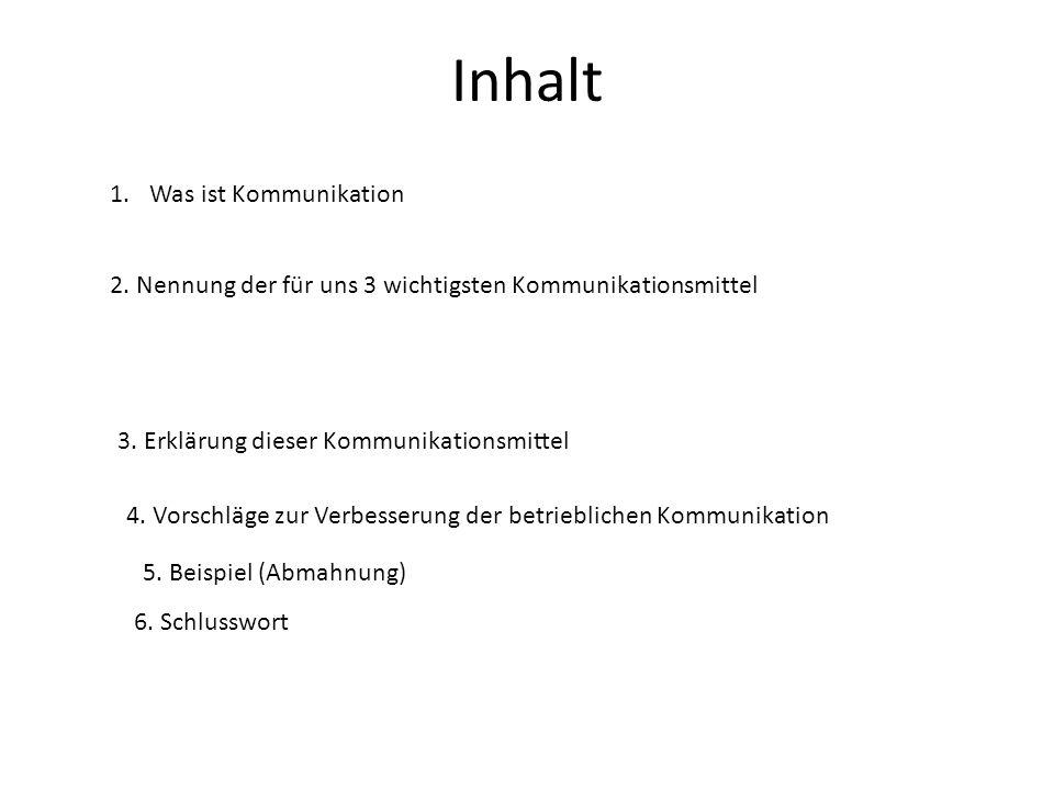 Inhalt Was ist Kommunikation