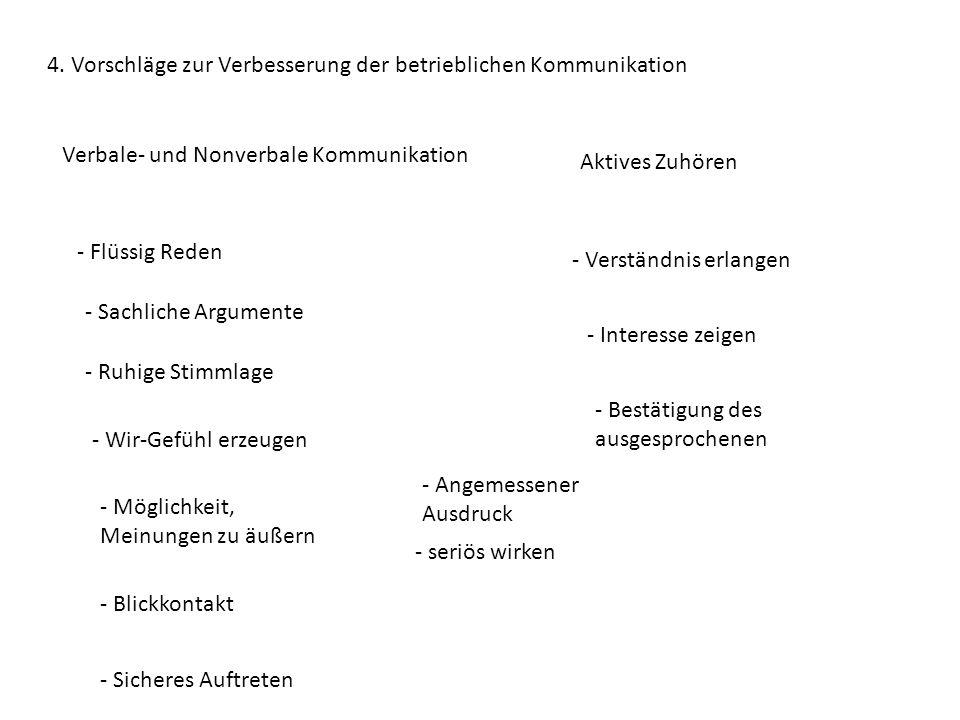 4. Vorschläge zur Verbesserung der betrieblichen Kommunikation