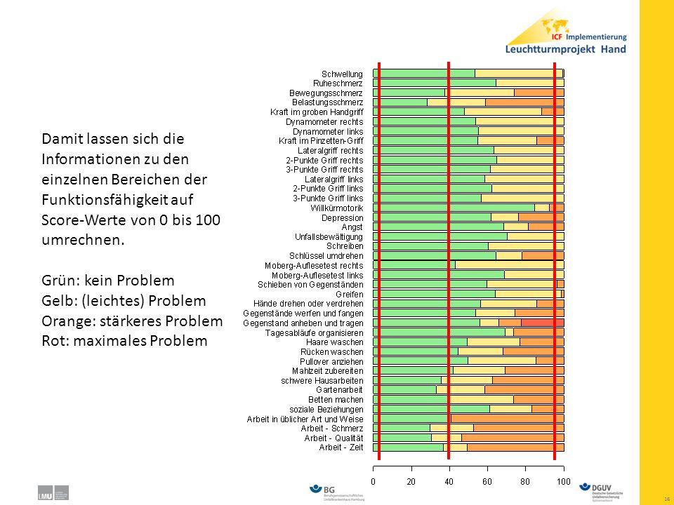 Damit lassen sich die Informationen zu den einzelnen Bereichen der Funktionsfähigkeit auf Score-Werte von 0 bis 100 umrechnen.
