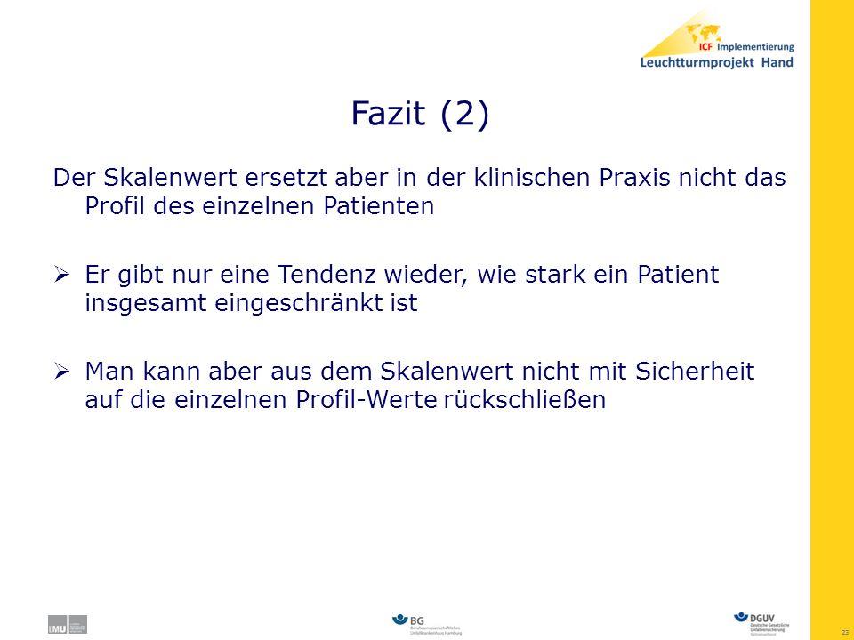Fazit (2) Der Skalenwert ersetzt aber in der klinischen Praxis nicht das Profil des einzelnen Patienten.