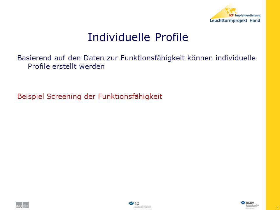 Individuelle Profile Basierend auf den Daten zur Funktionsfähigkeit können individuelle Profile erstellt werden.