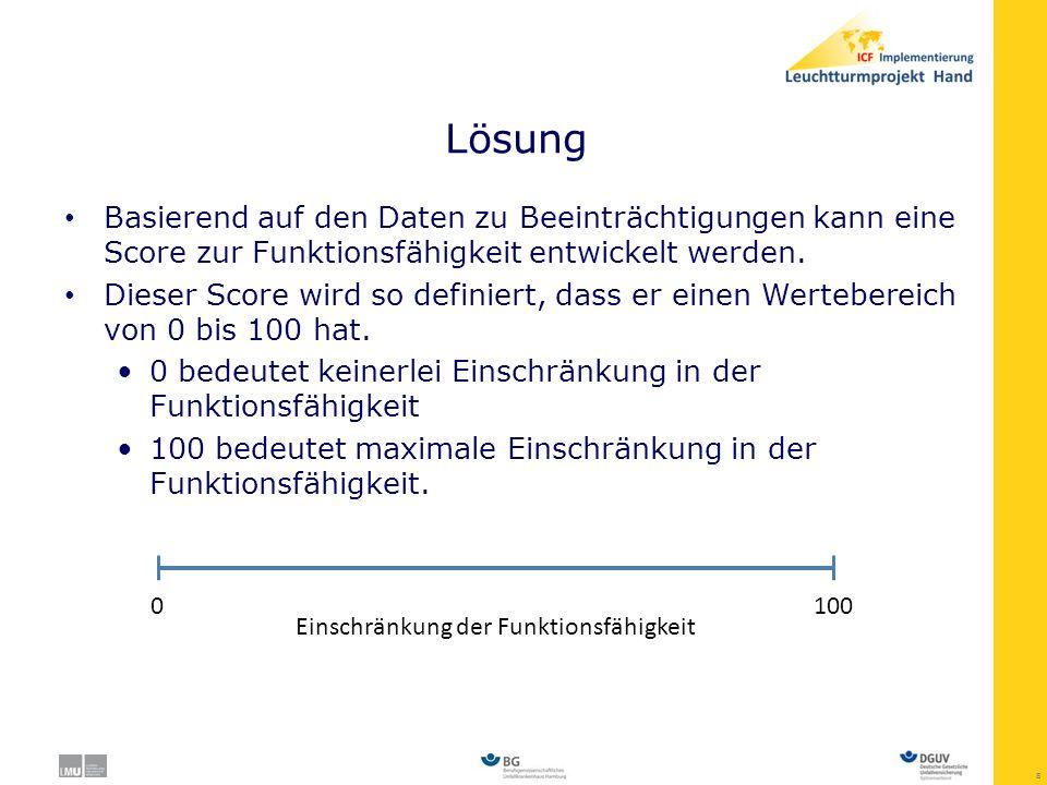 Lösung Basierend auf den Daten zu Beeinträchtigungen kann eine Score zur Funktionsfähigkeit entwickelt werden.
