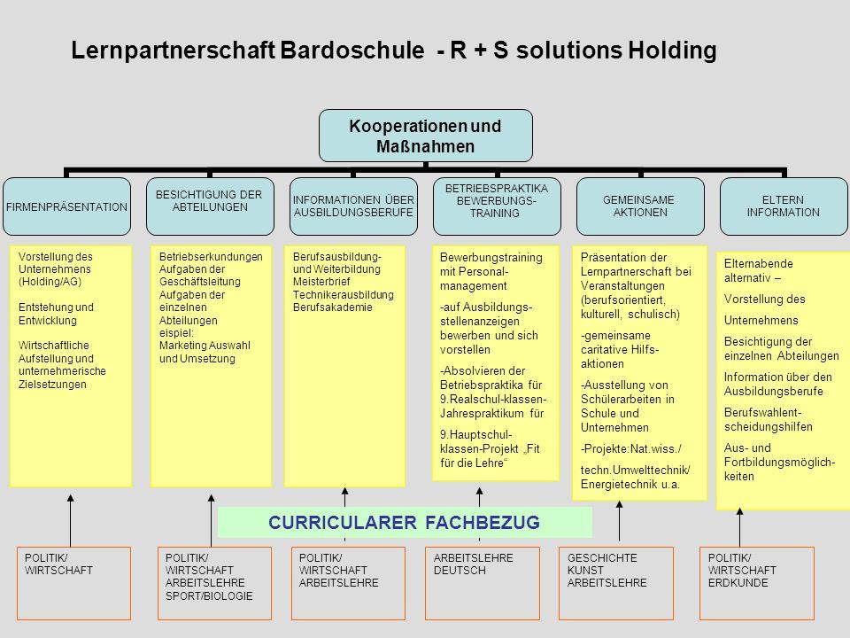 Lernpartnerschaft Bardoschule - R + S solutions Holding