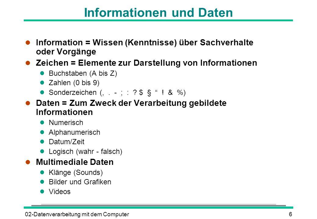 Informationen und Daten
