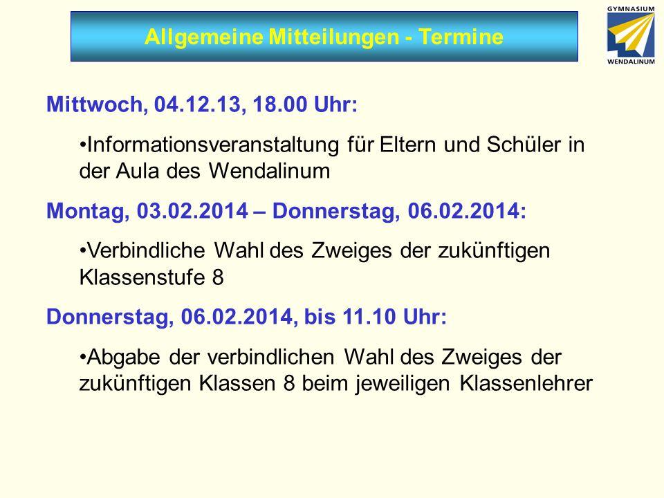 Allgemeine Mitteilungen - Termine