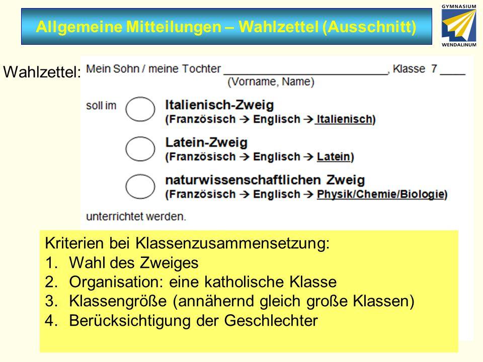 Allgemeine Mitteilungen – Wahlzettel (Ausschnitt)