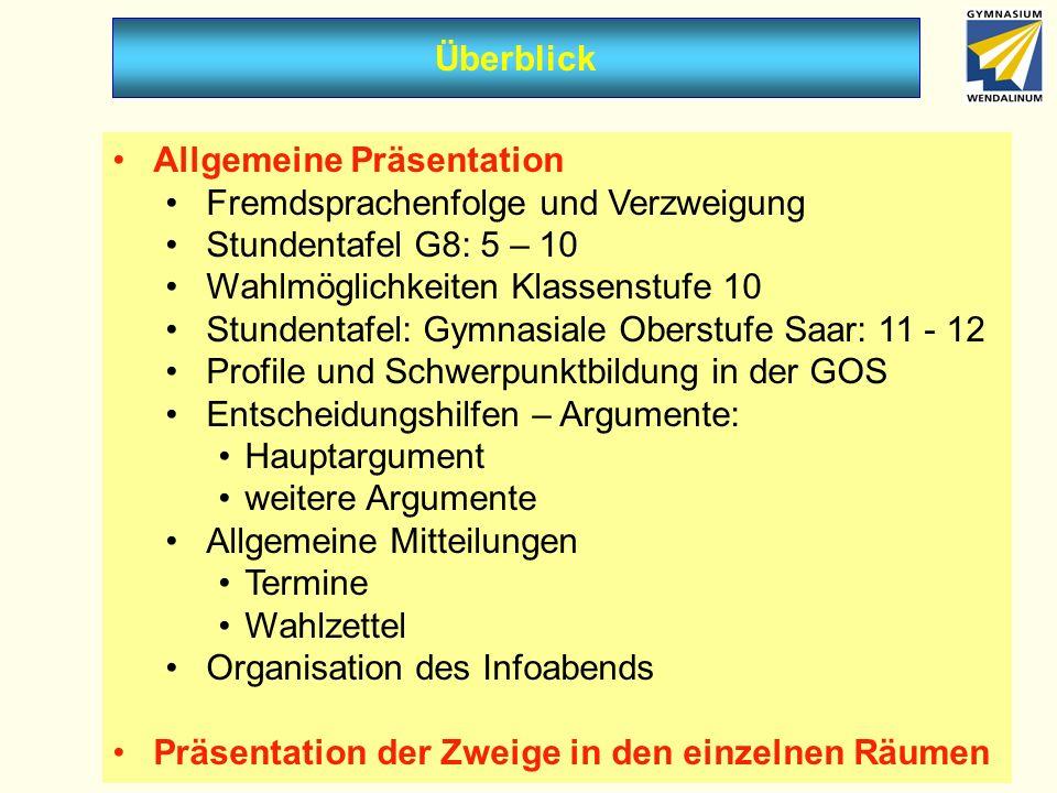 Überblick Allgemeine Präsentation. Fremdsprachenfolge und Verzweigung. Stundentafel G8: 5 – 10. Wahlmöglichkeiten Klassenstufe 10.