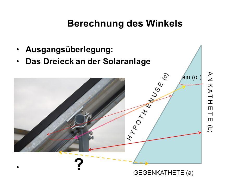 Berechnung des Winkels