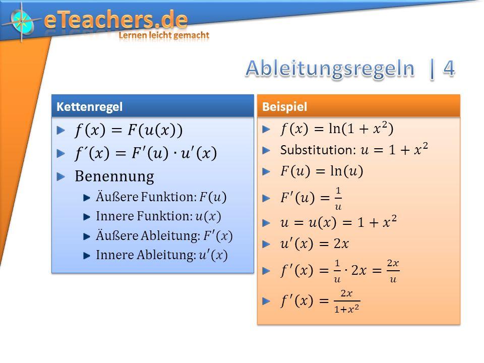 Ableitungsregeln | 4 𝑓 𝑥 =𝐹(𝑢 𝑥 ) 𝑓´ 𝑥 = 𝐹 ′ 𝑢 ∙ 𝑢 ′ 𝑥 Benennung