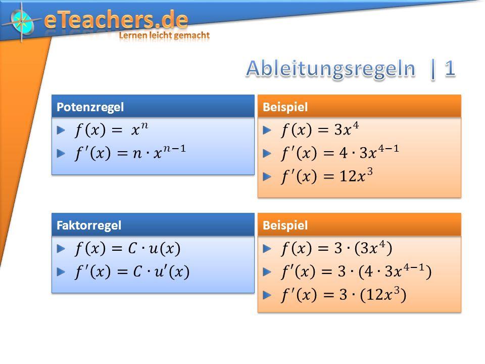 Ableitungsregeln | 1 𝑓 𝑥 = 𝑥 𝑛 𝑓 ′ 𝑥 =𝑛∙ 𝑥 𝑛−1 𝑓 𝑥 =3 𝑥 4