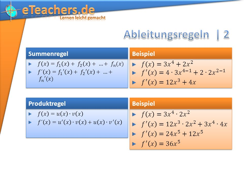 Ableitungsregeln | 2 Summenregel Beispiel 𝑓 𝑥 =3 𝑥 4 +2 𝑥 2