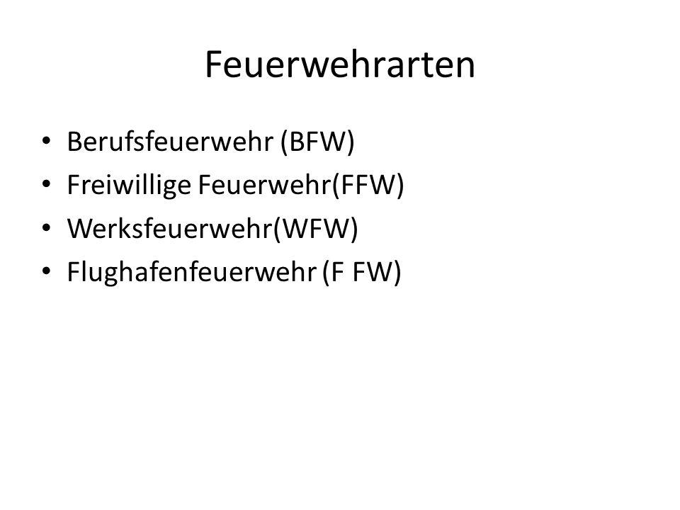 Feuerwehrarten Berufsfeuerwehr (BFW) Freiwillige Feuerwehr(FFW)