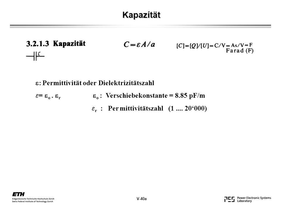 Kapazítät : Permittivität oder Dielektrizitätszahl