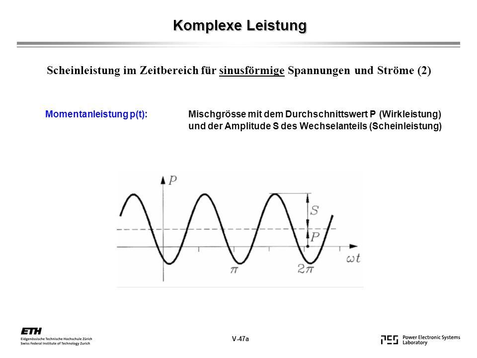 Komplexe Leistung Scheinleistung im Zeitbereich für sinusförmige Spannungen und Ströme (2)