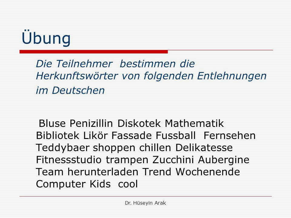 Übung Die Teilnehmer bestimmen die Herkunftswörter von folgenden Entlehnungen im Deutschen.