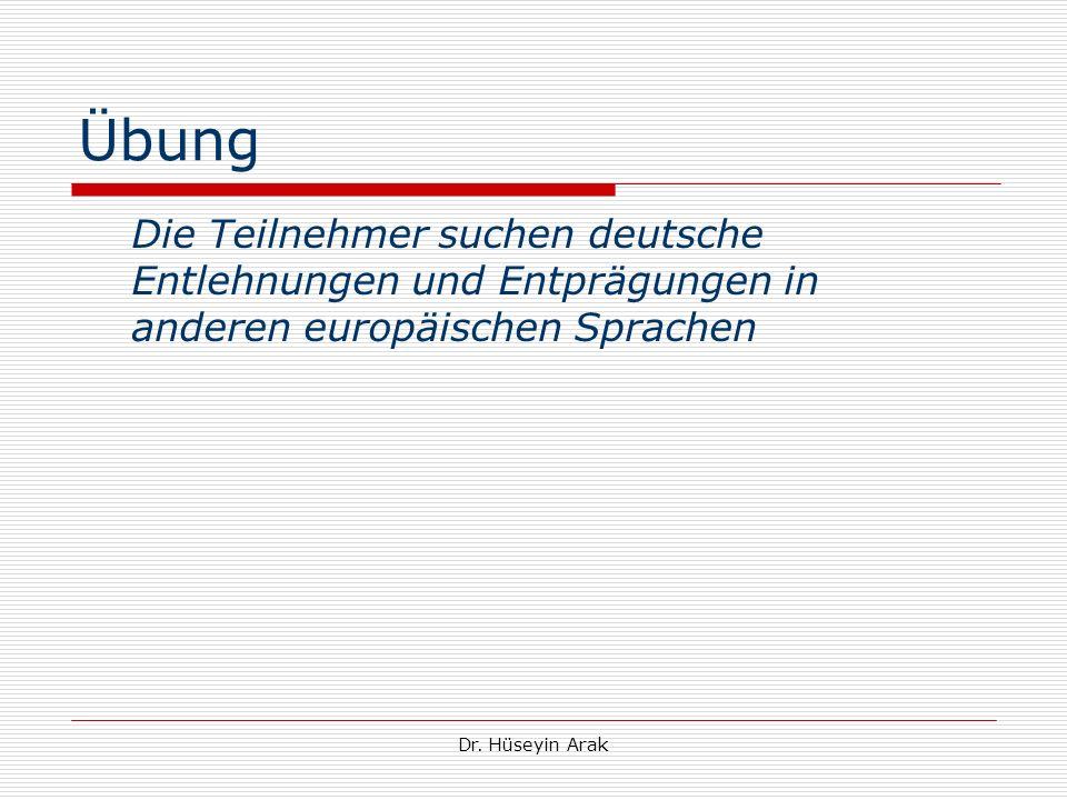 Übung Die Teilnehmer suchen deutsche Entlehnungen und Entprägungen in anderen europäischen Sprachen.