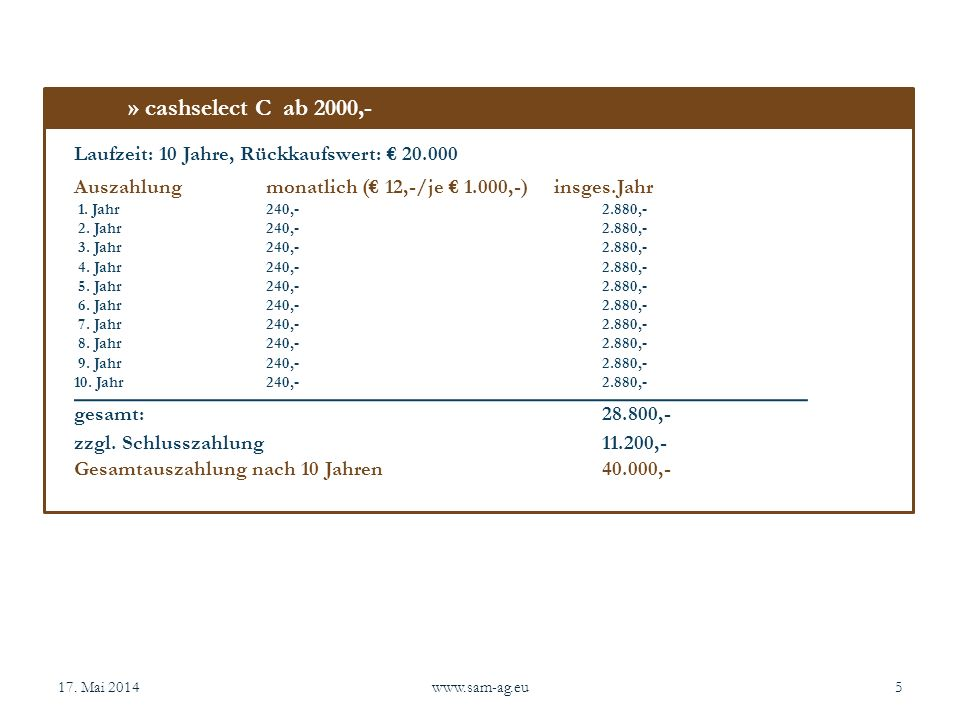 » cashselect C ab 2000,- Laufzeit: 10 Jahre, Rückkaufswert: € 20.000