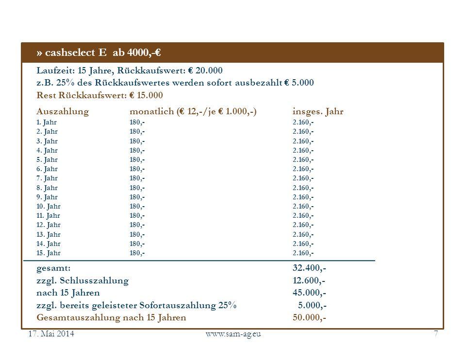 » cashselect E ab 4000,-€ Laufzeit: 15 Jahre, Rückkaufswert: € 20.000
