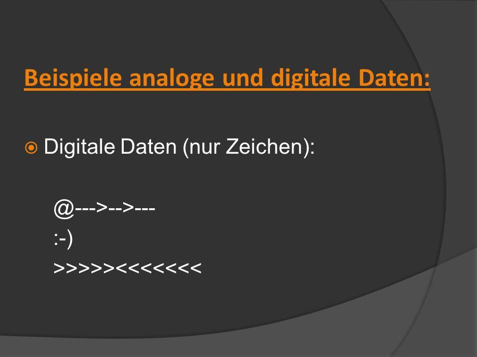 Beispiele analoge und digitale Daten: