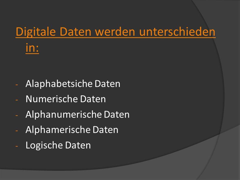 Digitale Daten werden unterschieden in: