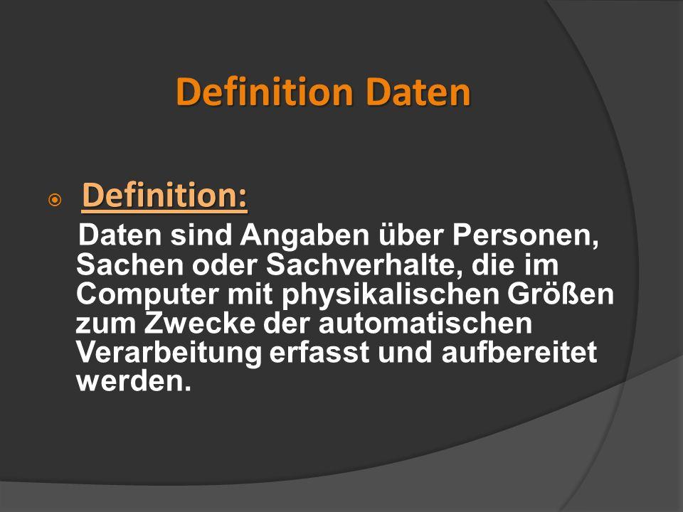 Definition Daten Definition: