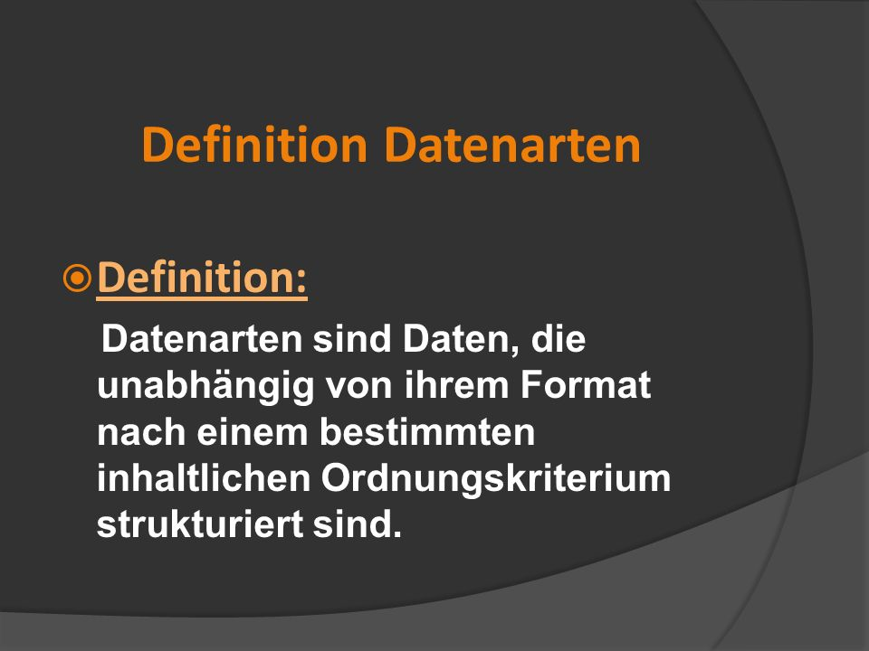Definition Datenarten