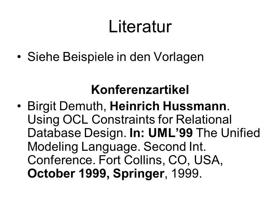 Literatur Siehe Beispiele in den Vorlagen Konferenzartikel