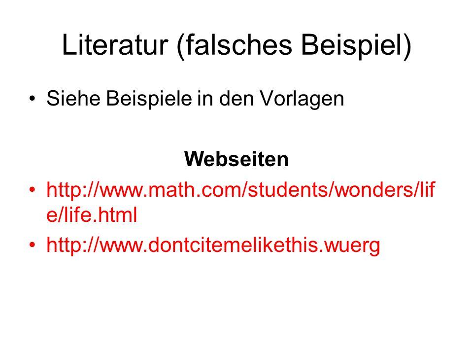 Literatur (falsches Beispiel)