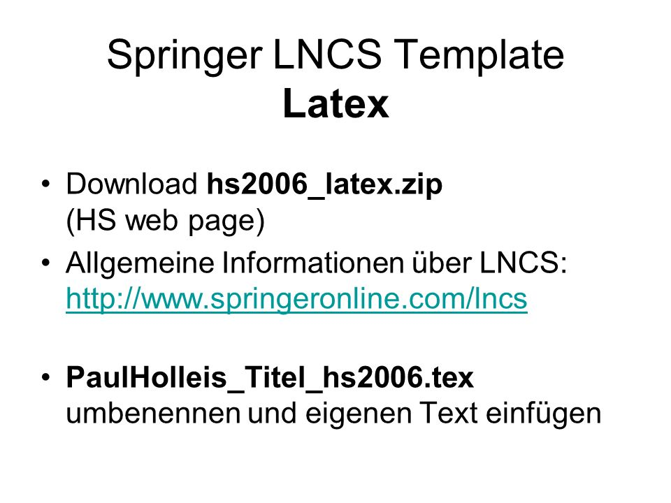 Springer LNCS Template Latex