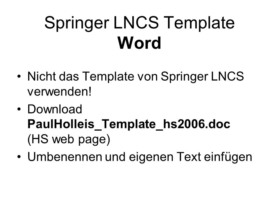 Springer LNCS Template Word