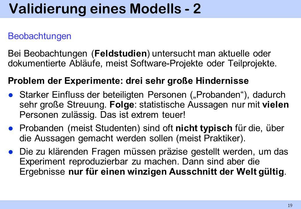 Validierung eines Modells - 2