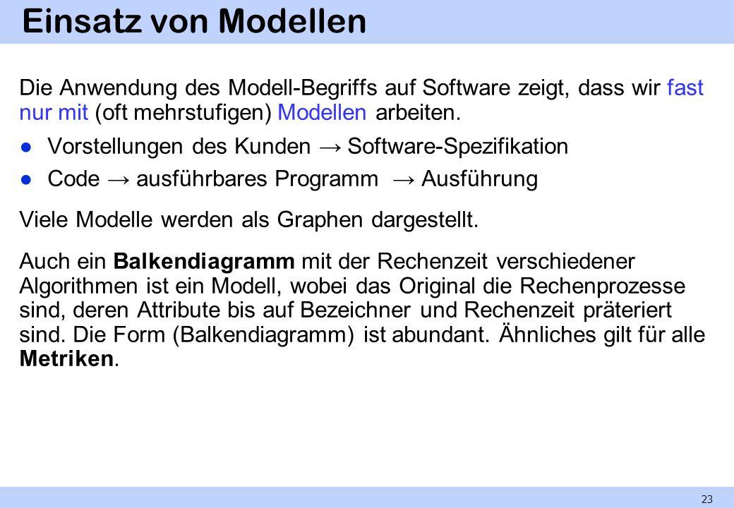 Einsatz von Modellen Die Anwendung des Modell-Begriffs auf Software zeigt, dass wir fast nur mit (oft mehrstufigen) Modellen arbeiten.