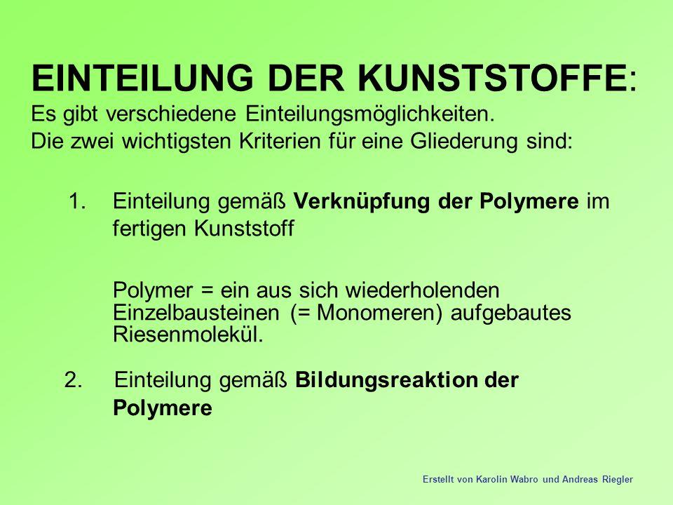 EINTEILUNG DER KUNSTSTOFFE: