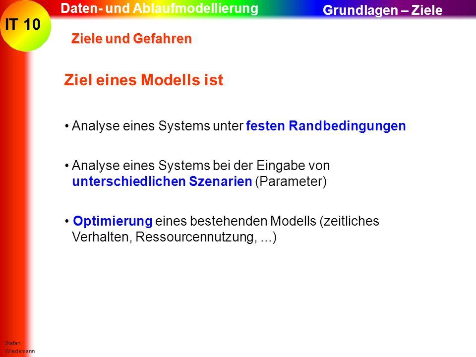 Ziel eines Modells ist Daten- und Ablaufmodellierung